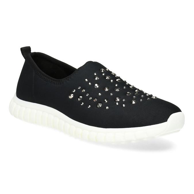 Dámska nazúvacia obuv s kamienkami bata-red-label, čierna, 539-6604 - 13