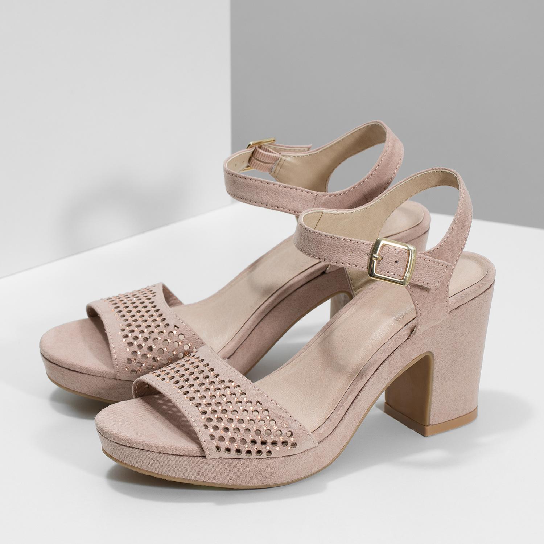 d5cc4e9935cfc ... Sandále na masívnom podpätku s kamienkami insolia, ružová, 669-8624 -  16 ...