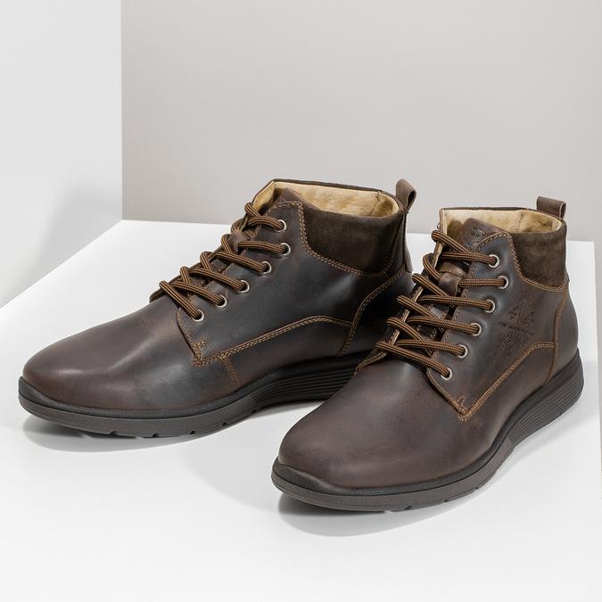 Pánska kožená členková obuv s prešitím bata, hnedá, 846-4645 - 16
