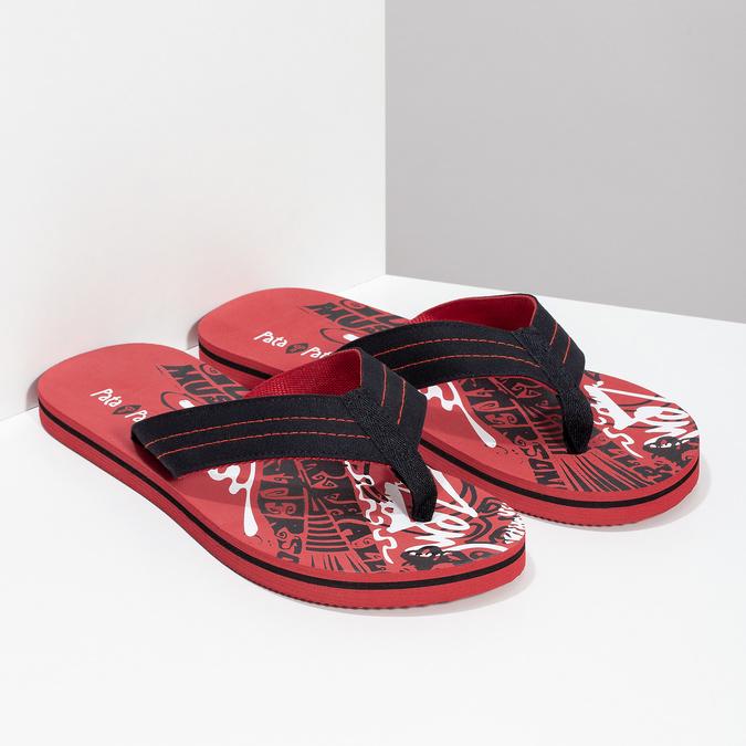 Pánske čierno-červené žabky pata-pata, červená, 879-9617 - 26