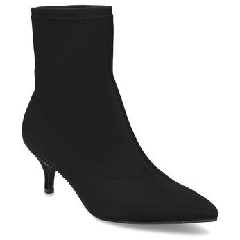 Čierna členková obuv na kitten heel bata, čierna, 699-6643 - 13