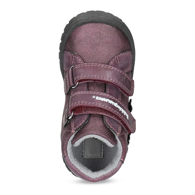Fialové dievčenské topánky s kytičkami bubblegummers, fialová, 121-5622 - 17