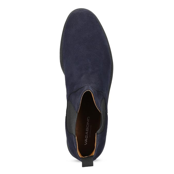 Tmavomodrá kožená pánska Chelsea obuv vagabond, modrá, 813-6153 - 17