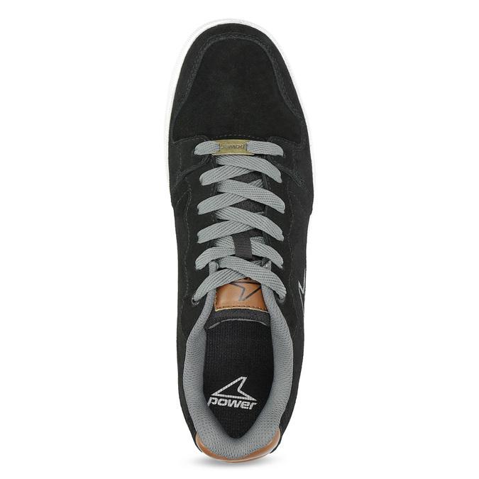 Pánske kožené tenisky s šedivými šnúrkami power, čierna, 803-6174 - 17