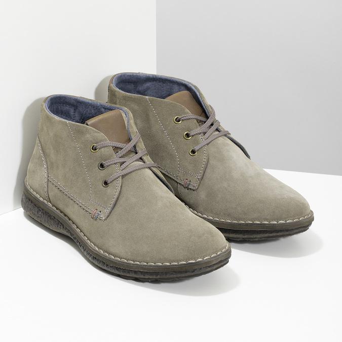 Kožená pánska členková obuv s prešitím bata, šedá, 843-2640 - 26