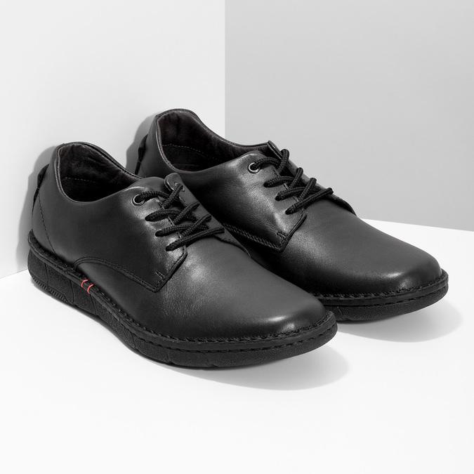 Pánske čierne kožené ležérne poltopánky bata, čierna, 824-6630 - 26