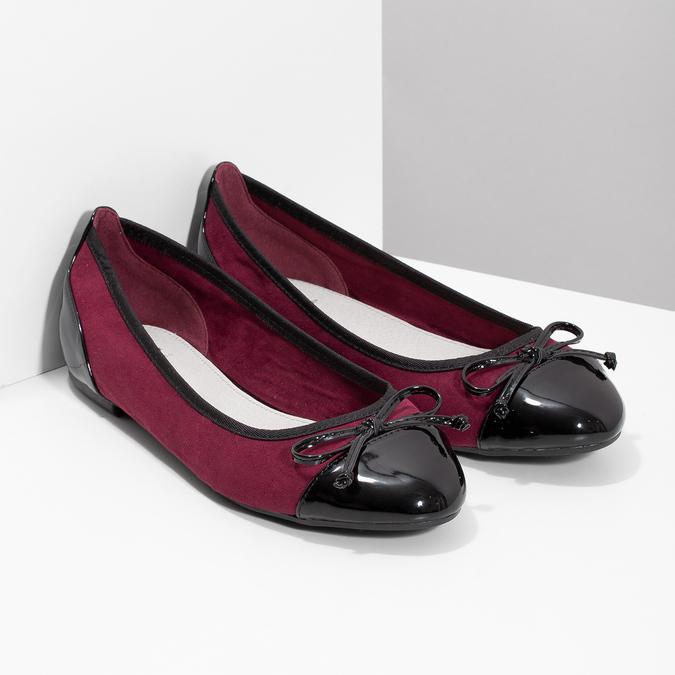 Vínové baleríny s lakovanou špičkou a pätou bata, červená, 529-5640 - 26