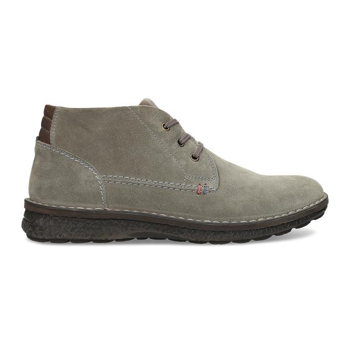Kožená pánska členková obuv s prešitím bata, šedá, 843-2640 - 19