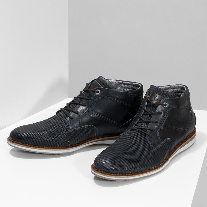 Modrá pánska kožená členková obuv bata, modrá, 826-9912 - 16