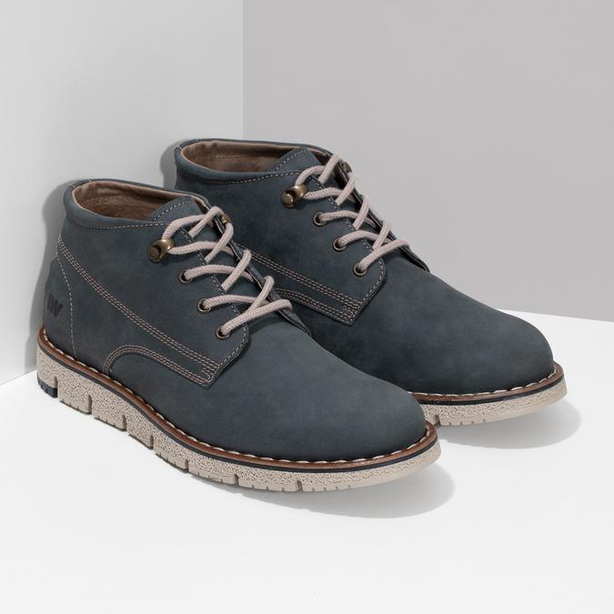 Pánska kožená členková modrá obuv weinbrenner, modrá, 846-9658 - 26