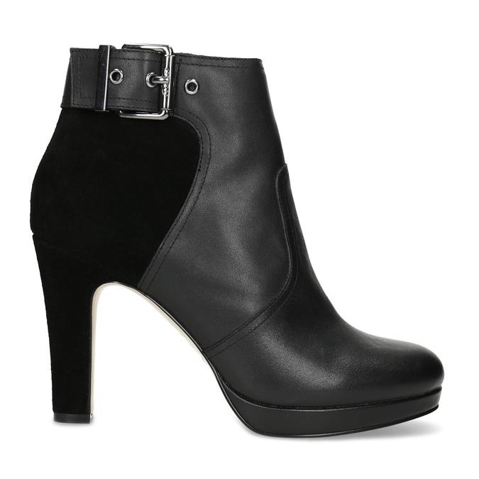 Kožené členkové čižmy s kovovou prackou bata, čierna, 794-6655 - 19