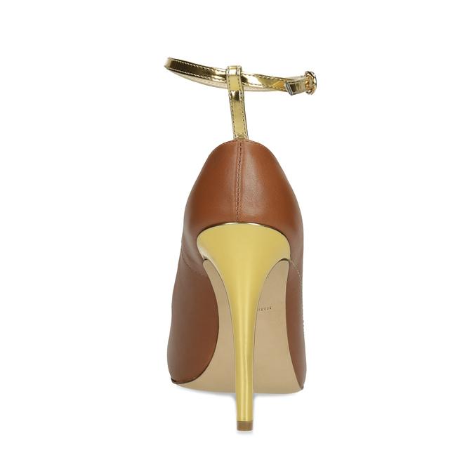 Hnedé kožené lodičky s kamienkami Preciosa bata, hnedá, 724-3332 - 15