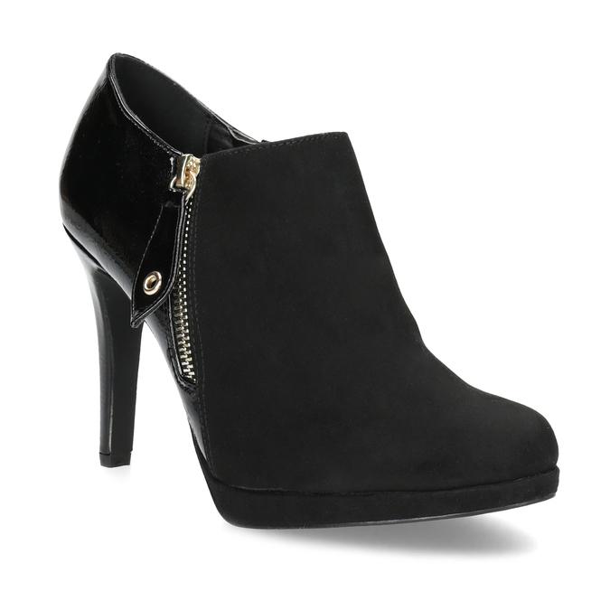 Dámska členková obuv na ihličkovom podpätku insolia, čierna, 799-6637 - 13
