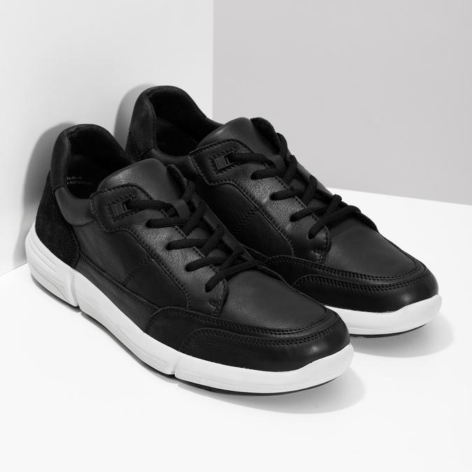 Čierne pánske tenisky s prešitím bata-light, čierna, 844-6647 - 26