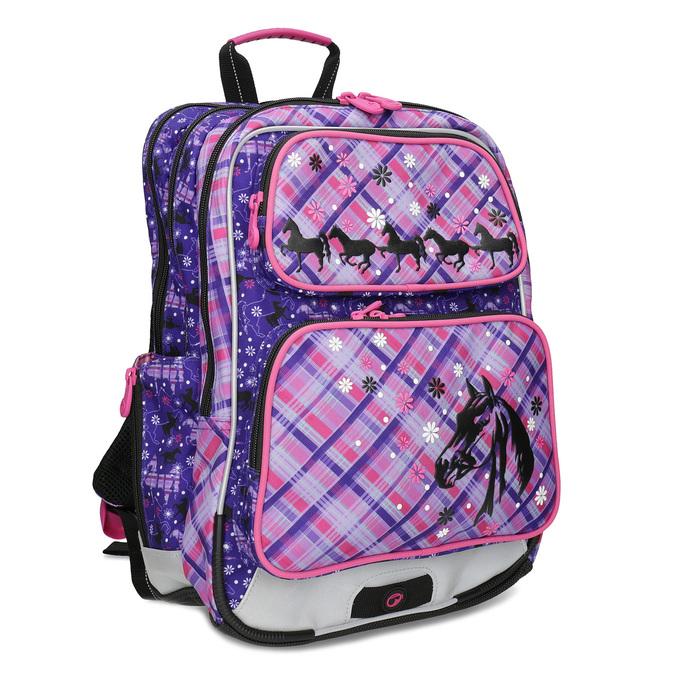 Školská aktovka s potlačou koní bagmaster, ružová, 969-9726 - 13