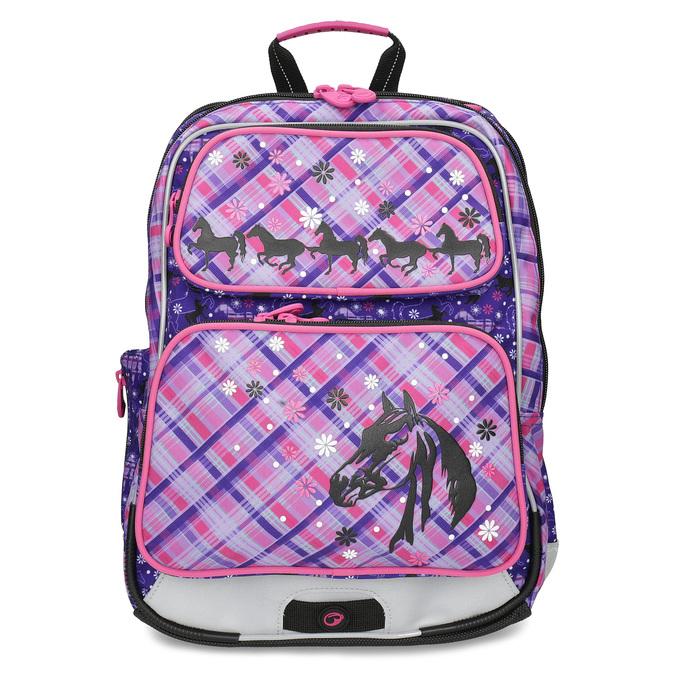 Školská aktovka s potlačou koní bagmaster, ružová, 969-9726 - 26