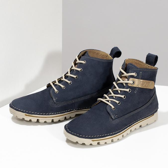 Kožená kotnikova obuv na šněrování weinbrenner, modrá, 594-9323 - 16