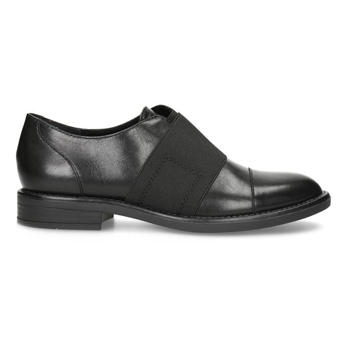 Kožené dámske poltopány s elastickým pruhom bata, čierna, 514-6602 - 19