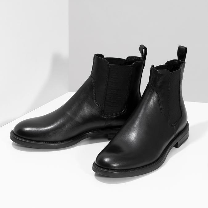 Dámske kožené čierne Chelsea vagabond, čierna, 514-6007 - 16
