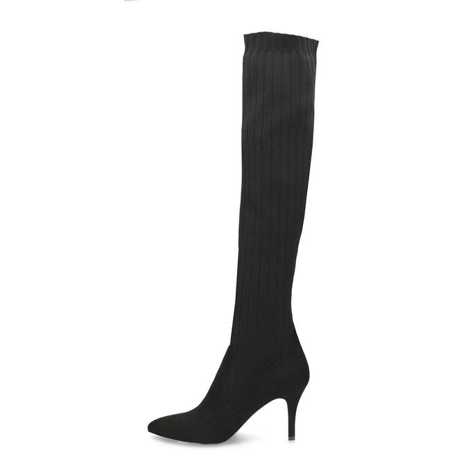 Čierne ponožkové čižmy na ihličkovom podpätku bata, čierna, 799-6639 - 17