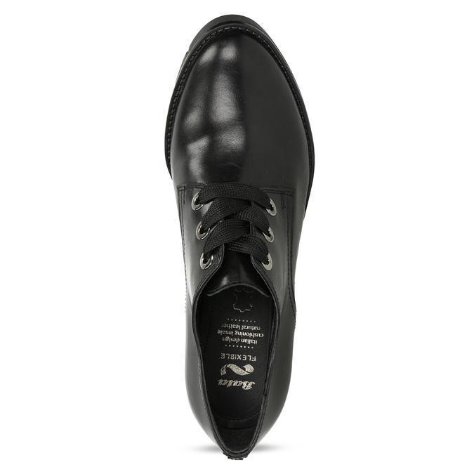 Dámske čierne kožené poltopánky flexible, čierna, 524-6662 - 17