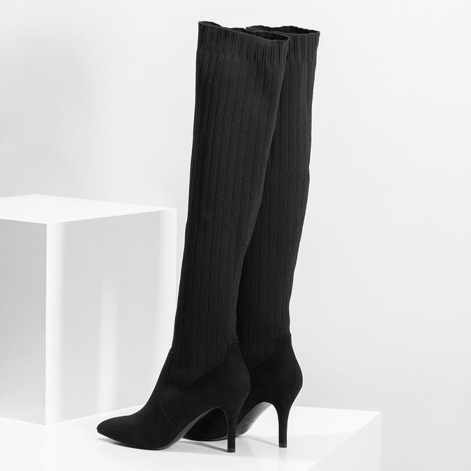 Čierne ponožkové čižmy na ihličkovom podpätku bata, čierna, 799-6639 - 16