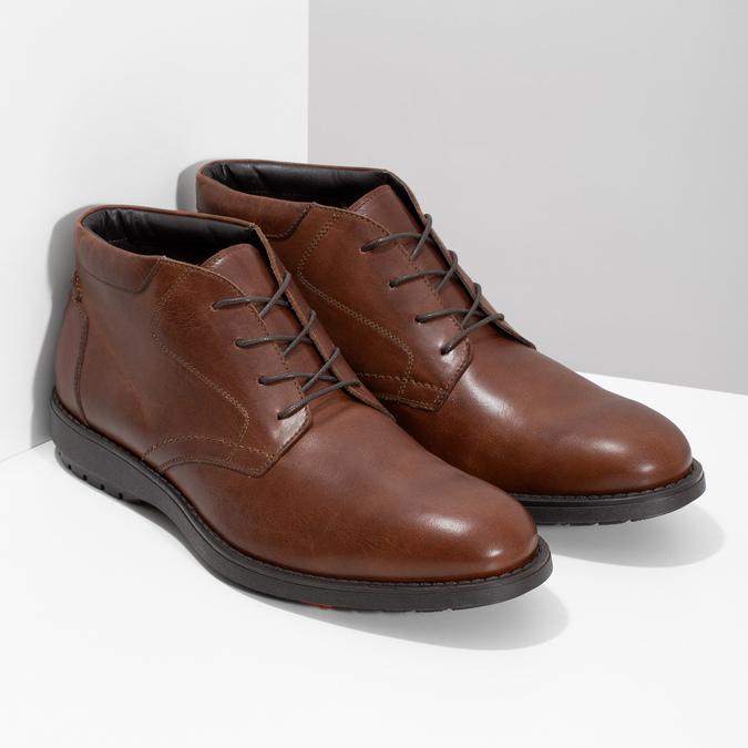 Členková kožená pánska hnedá obuv flexible, hnedá, 896-4707 - 26