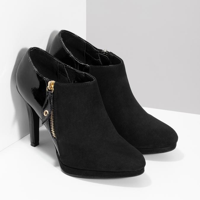 Dámska členková obuv na ihličkovom podpätku insolia, čierna, 799-6637 - 26