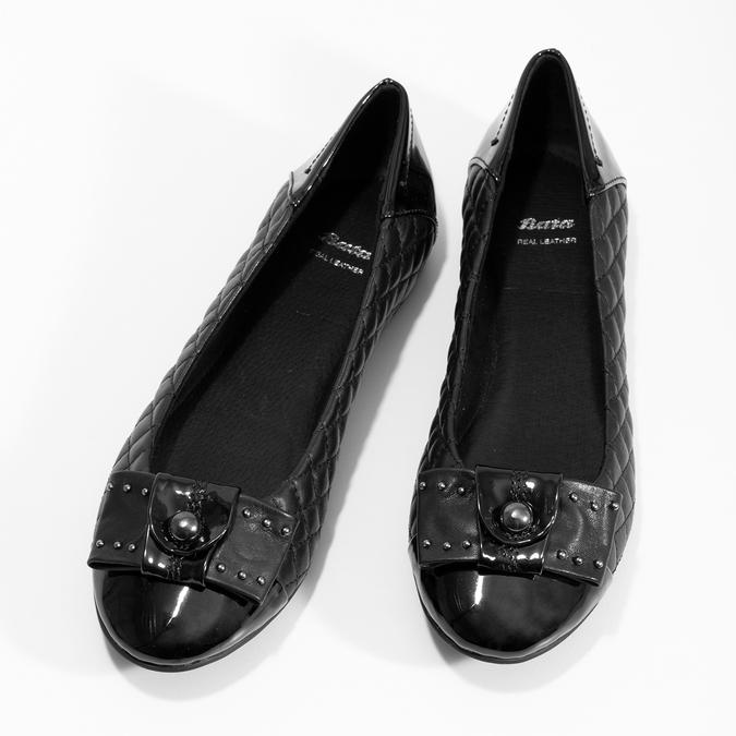 Čierne kožené baleríny s mašľou a prešívaním bata, čierna, 524-6667 - 16