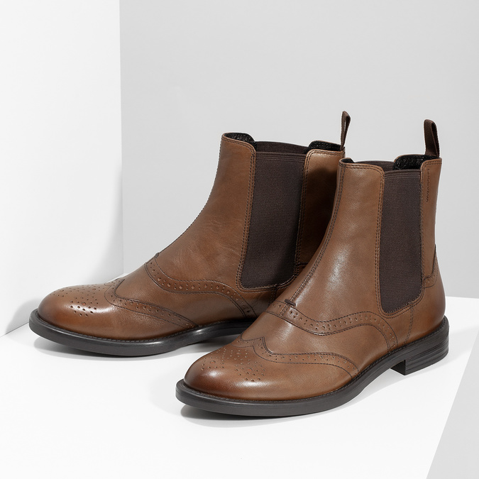 Dámska hnedá kožená Chelsea obuv vagabond, hnedá, 514-3002 - 16