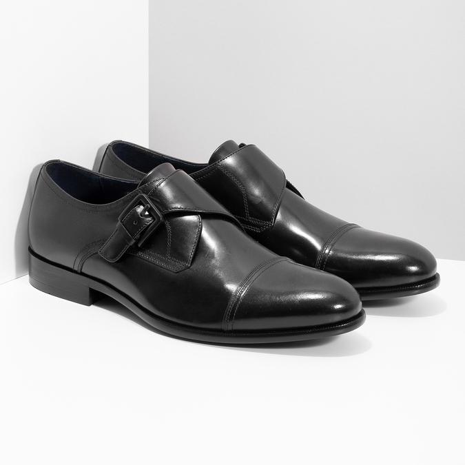 Kožené pánske čierne poltopánky s prackou bata, čierna, 824-6610 - 26