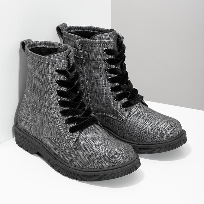 Členková detská obuv so zamatovými šnúrkami mini-b, šedá, 321-6620 - 26