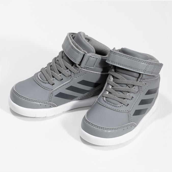Šedé členkové detské tenisky na suchý zips adidas, šedá, 101-2220 - 16