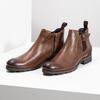 Hnedá kožená členková obuv s prackou bata, hnedá, 826-4781 - 16