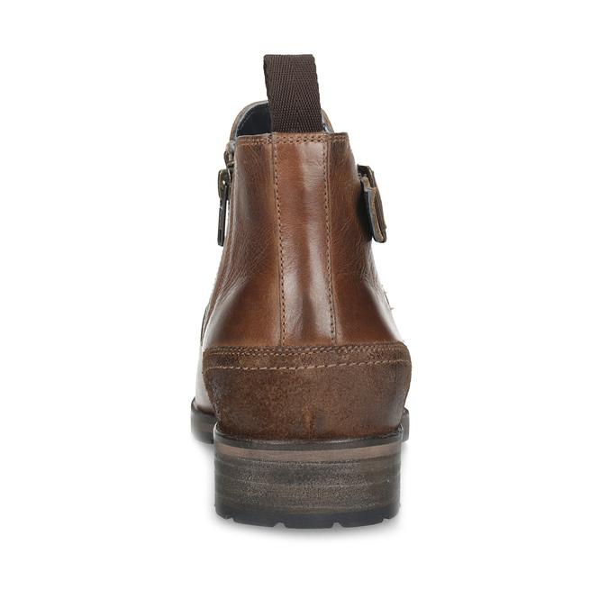 Hnedá kožená členková obuv s prackou bata, hnedá, 826-4781 - 15