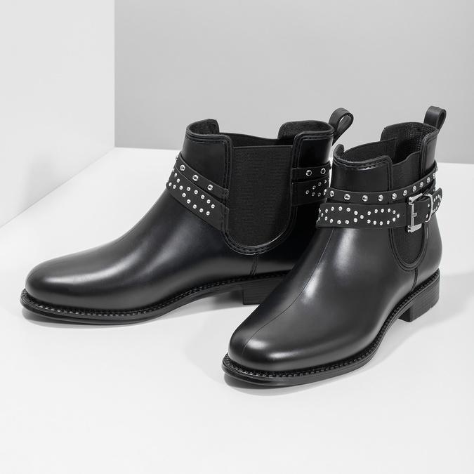 Členkové dámske gumáky s prackou bata, čierna, 592-6601 - 16
