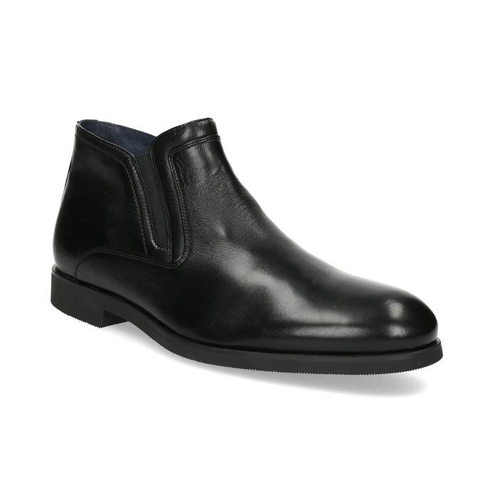 Kožená členková pánska obuv s prešitím bata, čierna, 824-6621 - 13