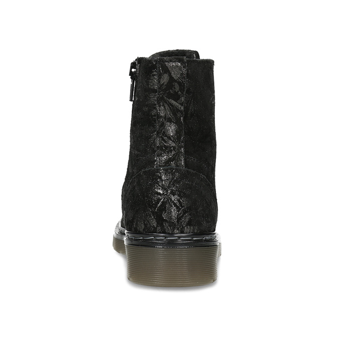 Detská kožená členková obuv so vzorom mini-b, čierna, 426-2560 - 15