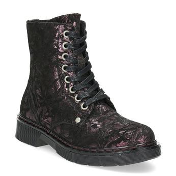 Členková kožená detská obuv so vzorom mini-b, hnedá, 426-4560 - 13
