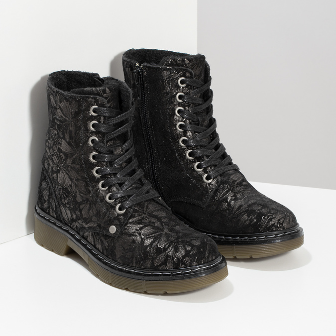 Detská kožená členková obuv so vzorom mini-b, čierna, 426-2560 - 26