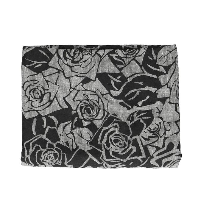 Čierna šatka so vzorom ruží bata, šedá, 909-2701 - 13