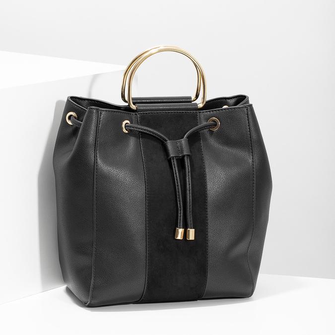 Čierna dámska Bucket kabelka bata, čierna, 961-6890 - 17