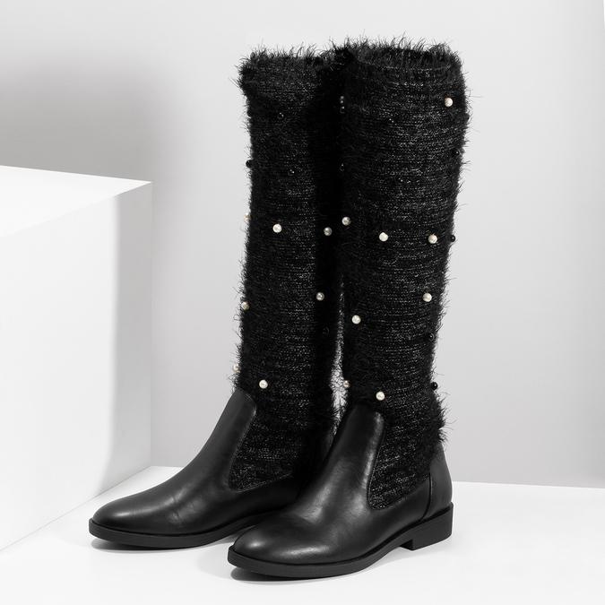 Čierne čižmy s perličkami bata, čierna, 599-6619 - 16