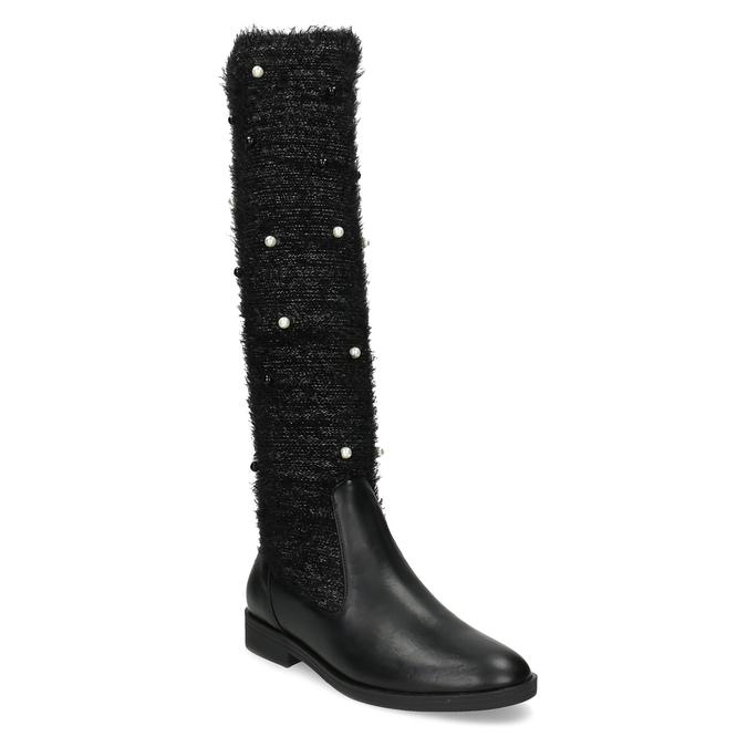 Čierne čižmy s perličkami bata, čierna, 599-6619 - 13