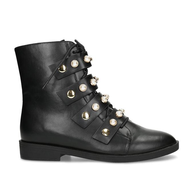 Vysoká členková obuv s perličkami bata, čierna, 591-6634 - 19