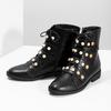 Vysoká členková obuv s perličkami bata, čierna, 591-6634 - 16