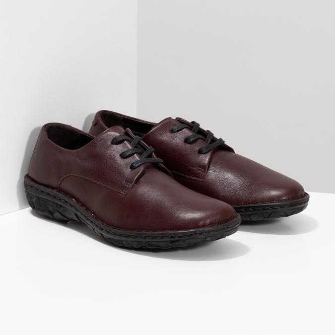 Vínové ležérne dámske kožené poltopánky bata, červená, 526-5665 - 26
