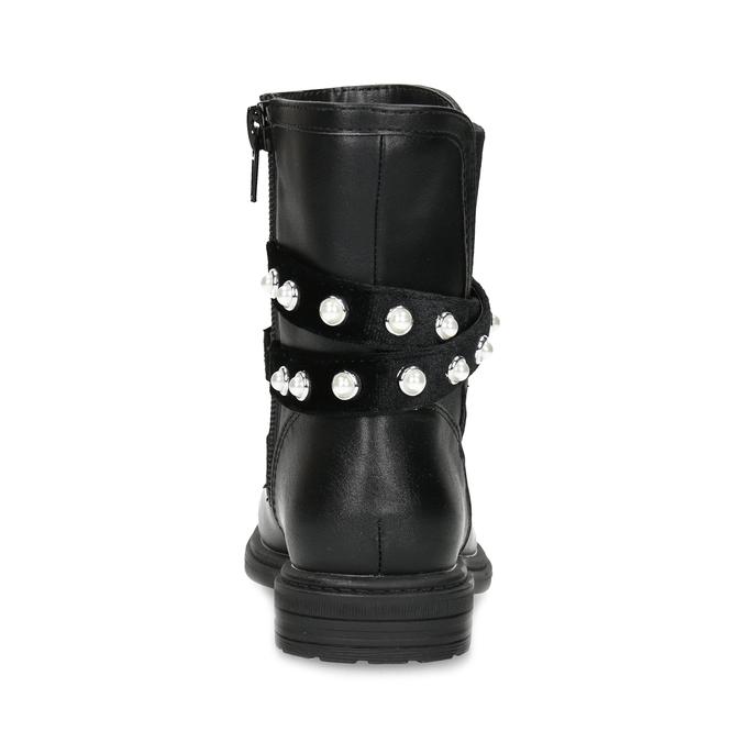 Dievčenské zateplené čižmy s perličkami mini-b, čierna, 291-6111 - 15