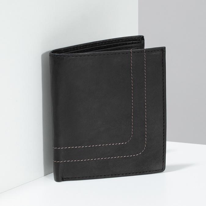 Kožená peňaženka s prešitím bata, hnedá, 944-6148 - 17