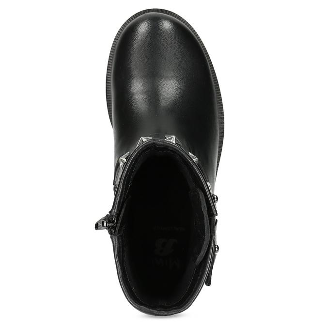Kožené detské čižmy s kovovými cvočkami mini-b, čierna, 394-6289 - 17